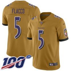 Limited Men's Joe Flacco Gold Jersey - #5 Football Baltimore Ravens 100th Season Inverted Legend