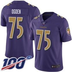 Limited Men's Jonathan Ogden Purple Jersey - #75 Football Baltimore Ravens 100th Season Rush Vapor Untouchable