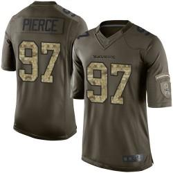 Elite Men's Michael Pierce Green Jersey - #97 Football Baltimore Ravens Salute to Service