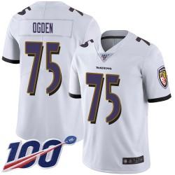 Limited Men's Jonathan Ogden White Road Jersey - #75 Football Baltimore Ravens 100th Season Vapor Untouchable