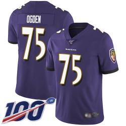 Limited Men's Jonathan Ogden Purple Home Jersey - #75 Football Baltimore Ravens 100th Season Vapor Untouchable